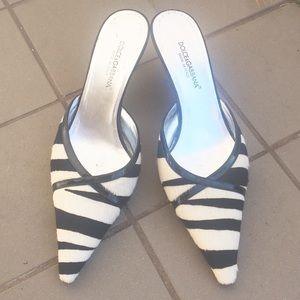 Dolce & Gabbana Ivory & Black Pony Hair Mule Shoes